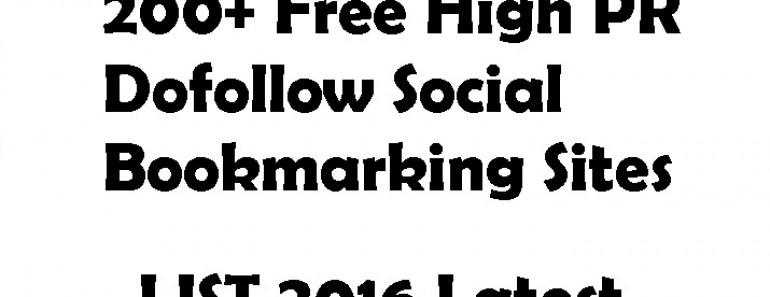 200+ Free High PR Dofollow Social Bookmarking Sites 2016