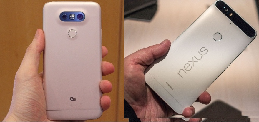 comparison between lg5 and google nexus 6p back side